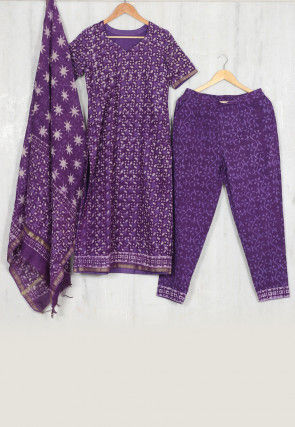 Hand Block Printed Chanderi Cotton Pakistani Suit in Purple