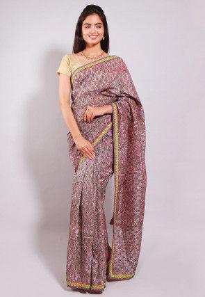 Hand Block Printed Chanderi Cotton Saree in Old Rose