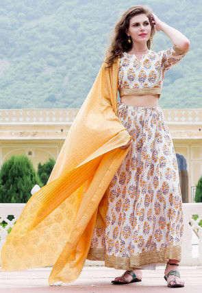 Hand Block Printed Chanderi Silk Lehenga in Off White