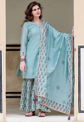 Hand Block Printed Chanderi Silk Pakistani Suit in Sky Blue