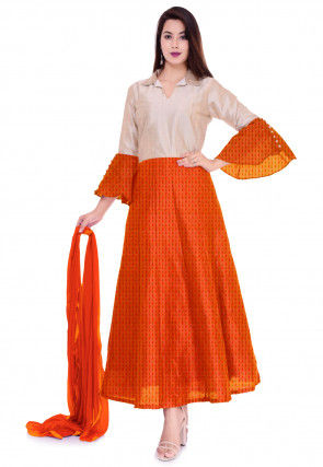 Hand Block Printed Chinon Crepe Abaya Style Suit in Orange and Off White