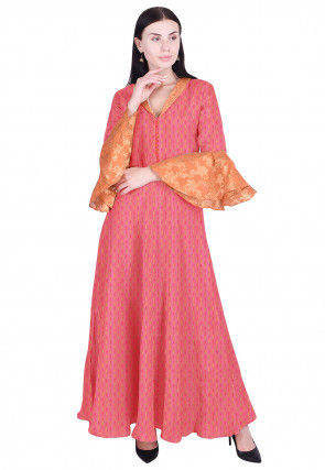 Hand Block Printed Chinon Crepe Flared Gown in Peach