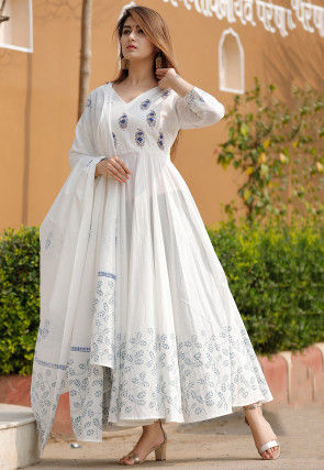 Hand Block Printed Cotton Abaya Style Suit in Off White