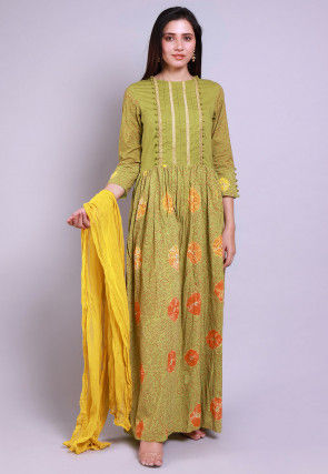 Hand Block Printed Cotton Abaya Style Suit in Olive Green