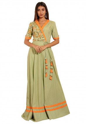 Hand Block Printed Cotton Angrakha Style Maxi Dress in Pastel Green