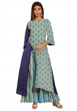 Hand Block Printed Cotton Asymmetric Kurta Set in Dusty Blue and Dark Blue