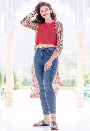 Hand Block Printed Cotton Crop Top in Red and Beige