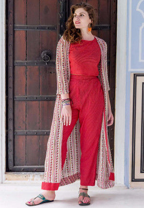 Hand Block Printed Cotton Crop Top with Pant in Red and Beige