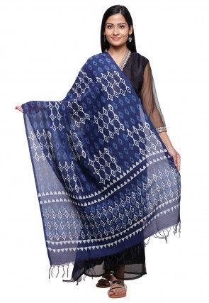 Hand Block Printed Cotton Dupatta in Navy Blue