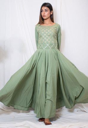 Hand Block Printed Cotton Gown in Dusty Green