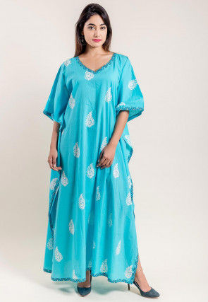 Hand Block Printed Cotton Kaftan in Light Blue