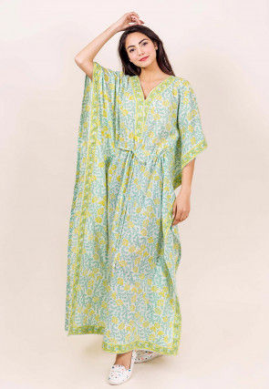Hand Block Printed Cotton Kaftan in Off White and Green