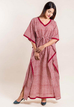 Hand Block Printed Cotton Kaftan in Off White and Red