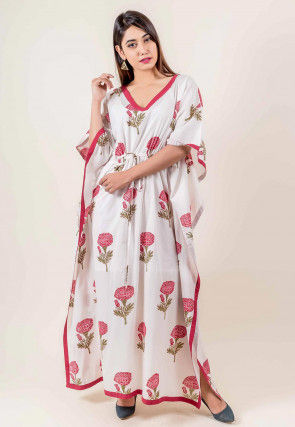 Hand Block Printed Cotton Kaftan in Off White