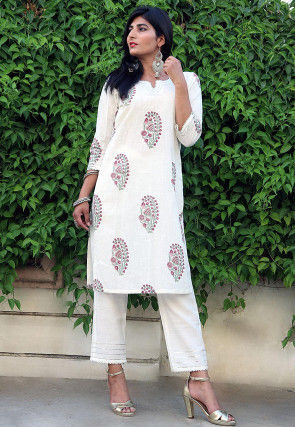 Hand Block Printed Cotton Kurta Set in Off White