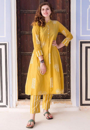 Hand Block Printed Cotton Kurta with Pant in Mustard