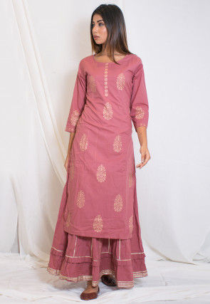 Hand Block Printed Cotton Layered Kurta in Old Rose