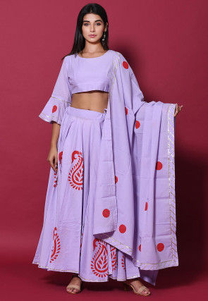 Hand Block Printed Cotton Lehenga in Light Purple