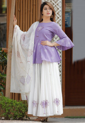 Hand Block Printed Cotton Lehenga in Purple and Off White