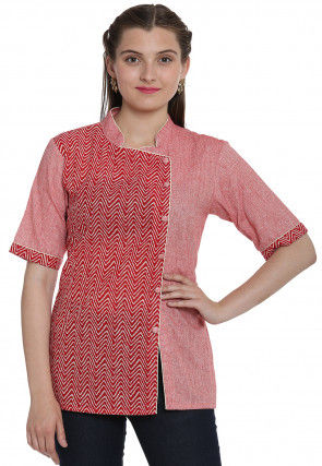 Hand Block Printed Cotton Linen Top in Red