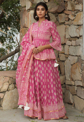 Hand Block Printed Cotton Mulmul Lehenga in Pink