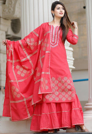 Hand Block Printed Cotton Pakistani Suit in Coral Red