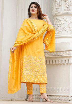 Hand Block Printed Cotton Pakistani Suit in Mustard