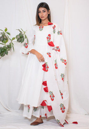 Hand Block Printed Cotton Pakistani Suit in Off White