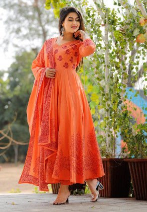 Hand Block Printed Cotton Pakistani Suit in Orange