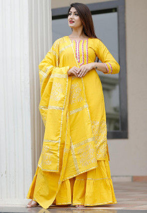 Hand Block Printed Cotton Pakistani Suit in Yellow