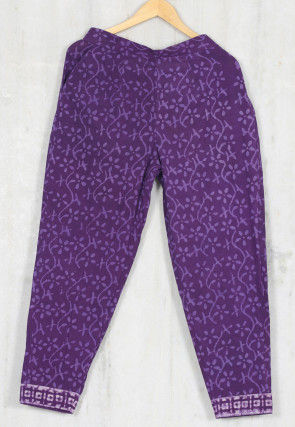 Hand Block Printed Cotton Pant in Purple