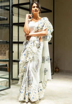 Hand Block Printed Cotton Ruffled Saree in Off White