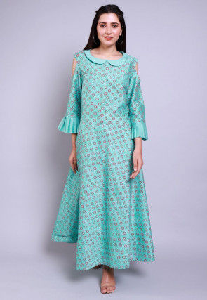 Hand Block Printed Cotton Silk Dress in Turquoise