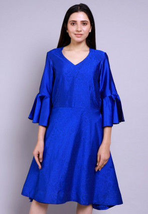 Hand Block Printed Cotton Silk Fit N Flare Dress in Royal Blue