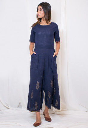 Hand Block Printed Cotton Slub Jumpsuit in Dark Blue