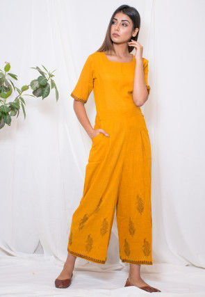 Hand Block Printed Cotton Slub Jumpsuit in Mustard