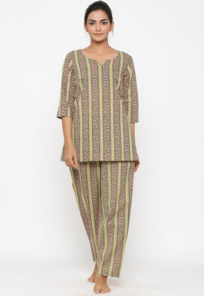 Hand Block Printed Cotton Top Set in Light Olive Green