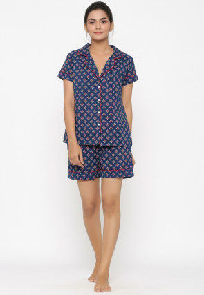 Hand Block Printed Cotton Top Set in Navy Blue