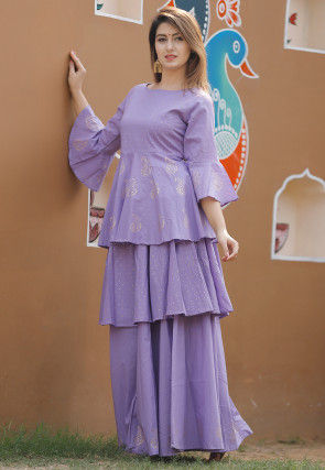 Hand Block Printed Cotton Tunic with Skirt in Light Purple