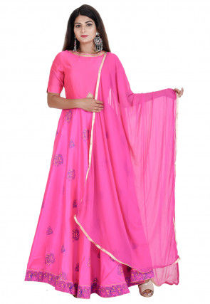 Hand Block Printed Dupion Silk Abaya Style Suit in Pink