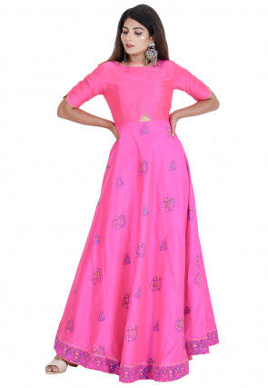 Hand Block Printed Dupion Silk Flared Kurta Set in Pink
