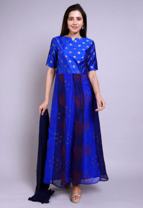 Hand Block Printed Georgette Abaya Style Suit in Royal Blue