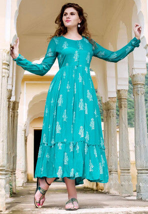 Hand Block Printed Georgette Dress in Teal Blue