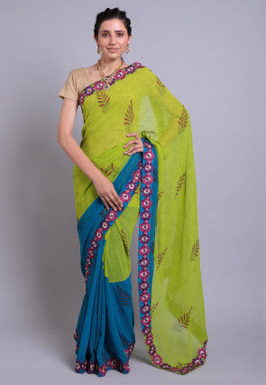 Hand Block Printed Georgette Saree in Green and Teal Blue