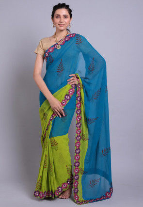 Hand Block Printed Georgette Saree in Teal Blue and Green