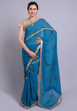 Hand Block Printed Georgette Saree in Teal Blue