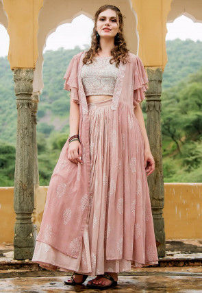 Hand Block Printed Modal Cotton Crop Top with Skirt in Pink