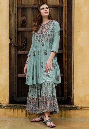 Hand Block Printed Modal Cotton Kurta with Sharara in Blue