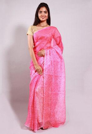 Hand Block Printed Pure Kota Silk Saree in Pink Ombre