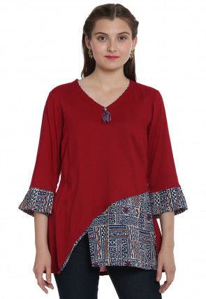 Hand Block Printed Rayon Asymmetric Top in Maroon and Blue